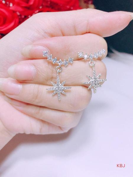 Bông tai bạc hình ngôi sao đính đá cao cấp
