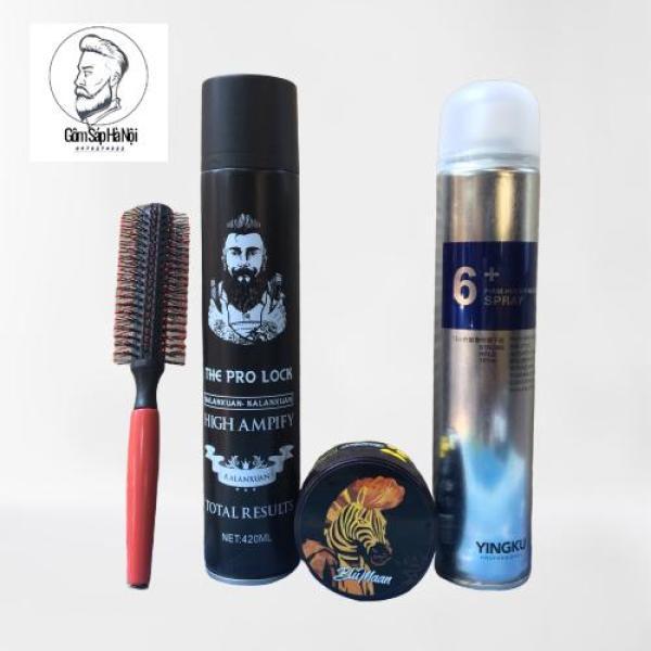COMBO  2 Gôm Xịt Tóc  The Pro +  Hair Spay 6+  + Sáp Vuốt Tóc Nam BluMaan Cavalier Heavy Clay [Ngựa Vằn] Tặng Lược giá rẻ