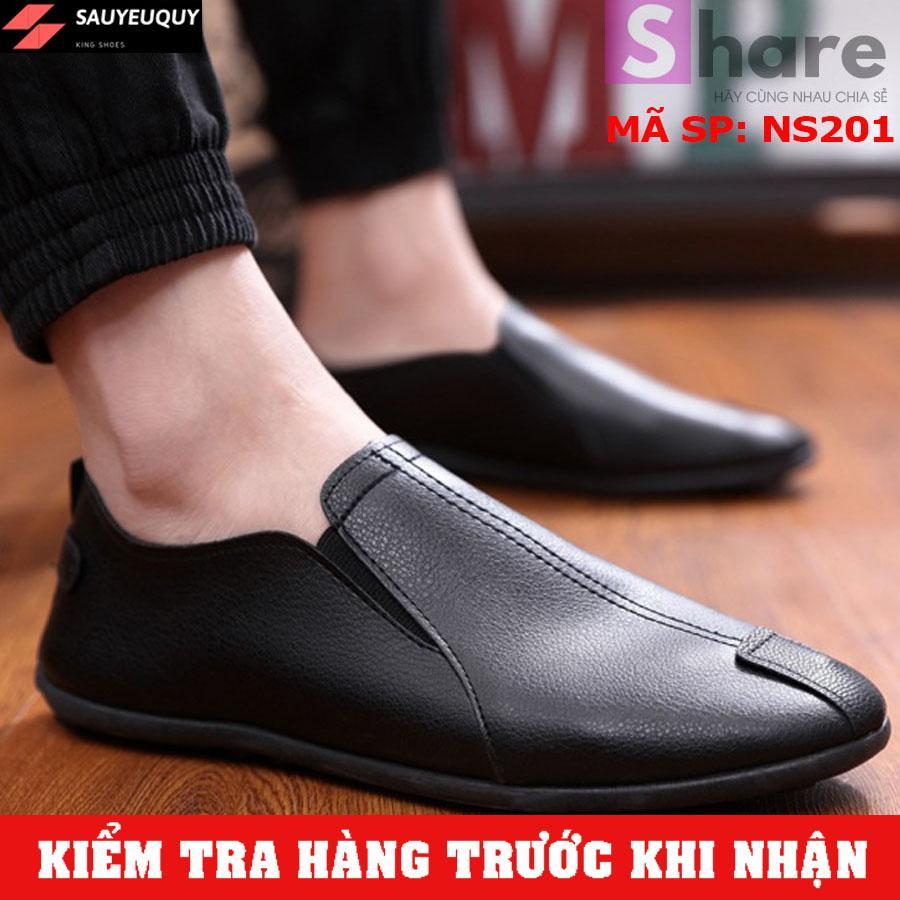 (TẶNG TẤT LƯỜI CAO CẤP) - Giày Lười Nam Hàn Quốc Màu Đen
