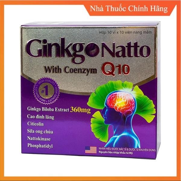 (Mẫu Mới) Ginkgo Natto Q10 With Coenzym - Viên Uống Hoạt Huyết Dưỡng Não Hộp 100 Viên