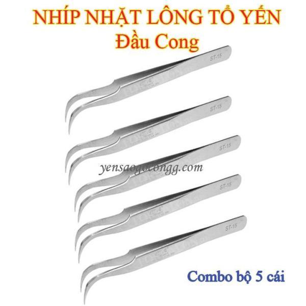 Nhíp Nhặt Lông Tổ Yến Bộ 5 Cái Đầu Cong INOX 304
