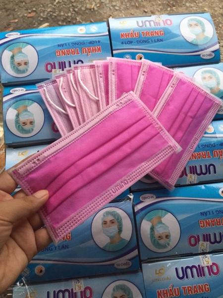 Khẩu trang y tế 4 lớp ,hộp 50 chiếc tặng 10 khẩu trang vải poly khi mua từ 3 hộp
