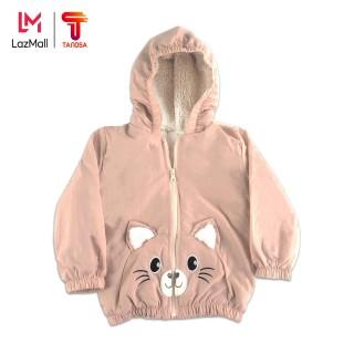 TANOSA Áo phao lót lông cừu cho bé 1-6 tuổi túi mèo đáng yêu, nhiều màu, có mũ cao cấp thumbnail