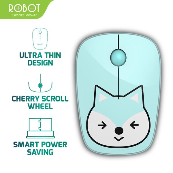 [Bảo Hành 12 tháng] Chuột không dây ROBOT M220 2.4GHz Khoảng cách tín hiệu 20m công nghệ cảm biến quang học 1600DPI - Hàng chính hãng