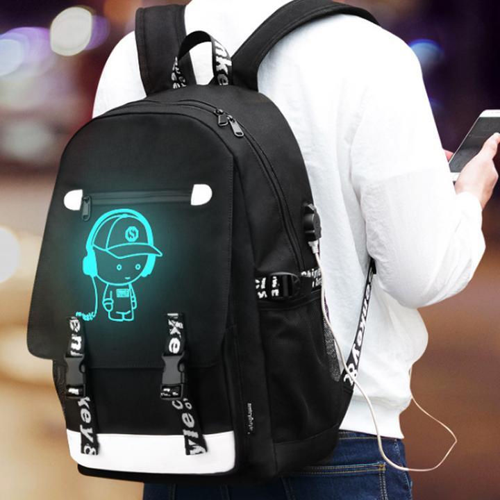 Balo Nam Dạ Quang Phát Sáng Hình Chú Bé Nghe Nhạc Tặng Kèm Cáp Sạc USB Khóa Số Chống Trộm Giá Cực Cool