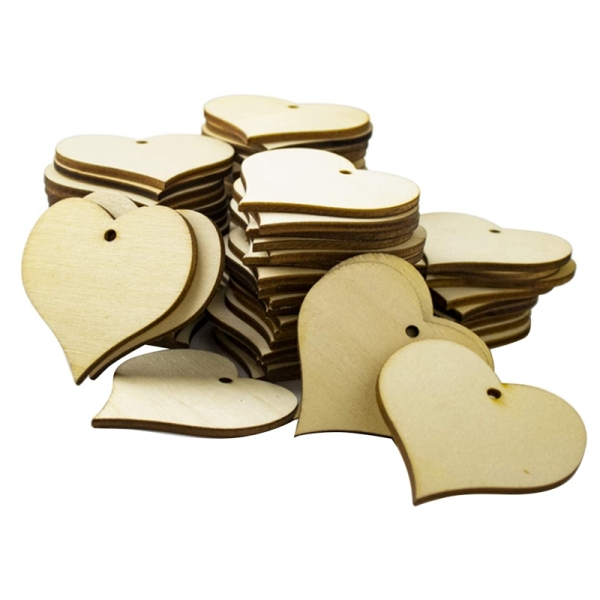 100 Pieces Wood Heart Shap Blank Wooden Tags with Holes. Great for DIY Wedding Decor, Wood Burning, Making Ornaments.