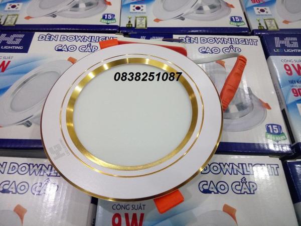 Combo 12 đèn Led âm trần viền vàng 9W 3 màu 3 chế độ