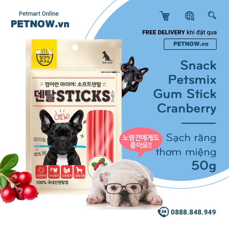 Snack Petsmix Gum Stick Cranberry 50g - Sạch răng thơm miệng