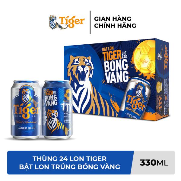 Thùng 24 lon bia Tiger (Bật lon Tiger giơ cao bóng vàng) 330ml/lon