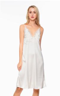Dreamy VD01 - Váy ngủ lụa cao cấp dáng dài phối ren ngực quyến rũ màu trắng thumbnail