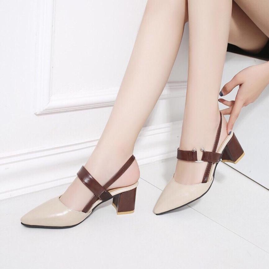 Giày cao gót 6cm bít mũi khóa C hở gót giá rẻ