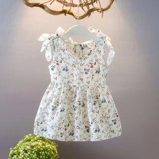 Cửa Hàng Ropalia, Đầm Có Dây Họa Tiết Hoa Thường Ngày Mùa Hè Cho Bé Gái, Cotton Đầm Xòe Không Tay Cho Trẻ Tập Đi