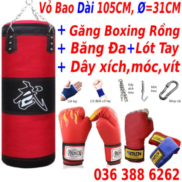 Vỏ Bao Cát Đấn Bốc Boxing + Găng BOXING MMA Hở Ngón Walon + băng đa  - Thiết bị tập luyện võ thuật chuyên nghiệp