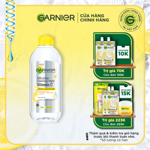 Nước làm sạch và tẩy trang dưỡng sáng da Garnier Micellar Water Vitamin C 400ml