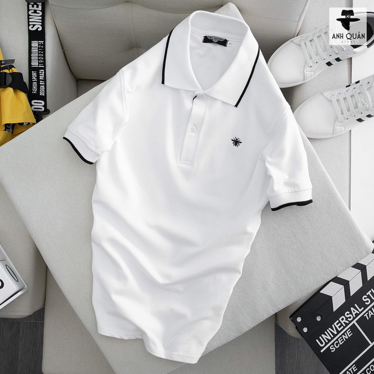 Áo Polo nam có cổ ngắn tay Hamino màu trắng đen vải thun cotton co giãn form basic cao cấp đẹp VNXK