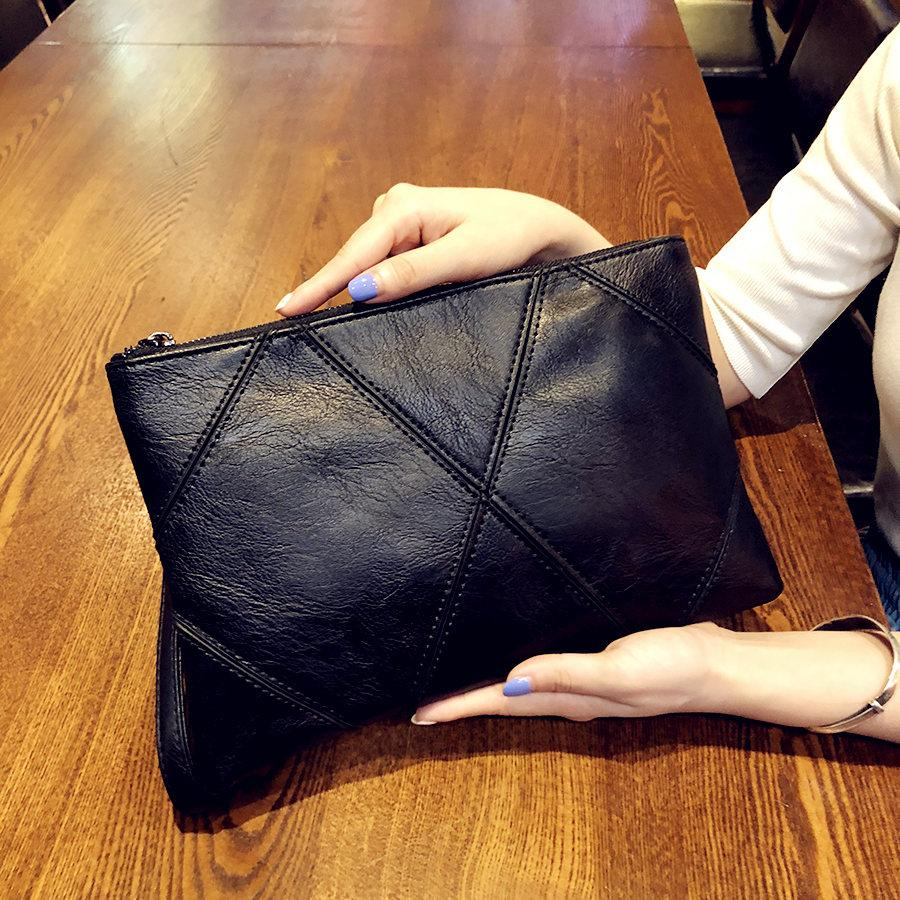 Clutch Envelope 2019 New Style Black Soft Leather Clutch Bag Stitching Simple Briefcase Large Capacity Wrist Wrap