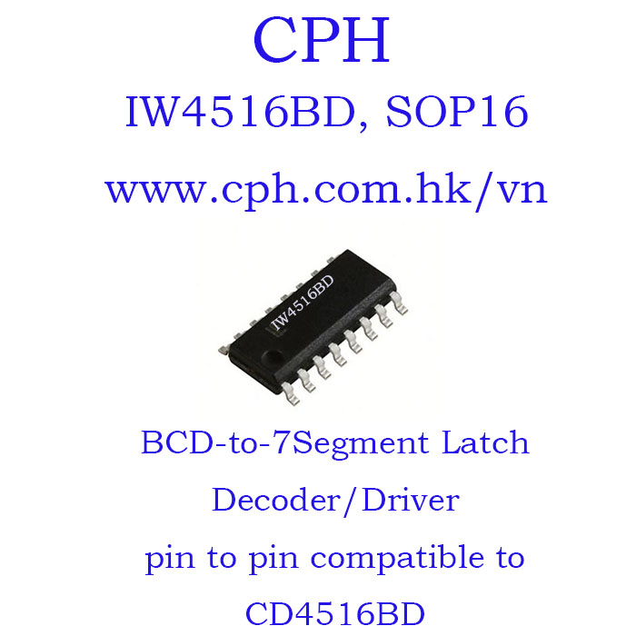 Giá 5pcs IW4516BD CD4516BD IW4516 CD4516 SOP16 IKSemicon Presettable Binary Up/Down Counter