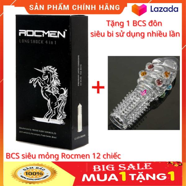 Bao cao su kéo dài thời gian quan hệ siêu mỏng Rocmen 12 chiếc tặng 1 bao cao su đôn siêu bi sử dụng nhiều lần ( che tên sản phẩm)