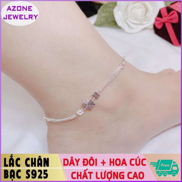 Lắc chân | Lắc chân bạc | Lắc chân nữ dây đôi đính hoa cúc Bạc S925 [FREESHIP] Hàng đẹp Khóa móc dễ dàng tháo lắp và tùy chỉnh kích thước #AZLC007 - Azone Jewelry