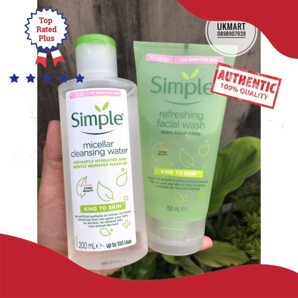 Combo Làm Sạch Simple Tẩy Trang + Sữa Rửa Mặt cao cấp