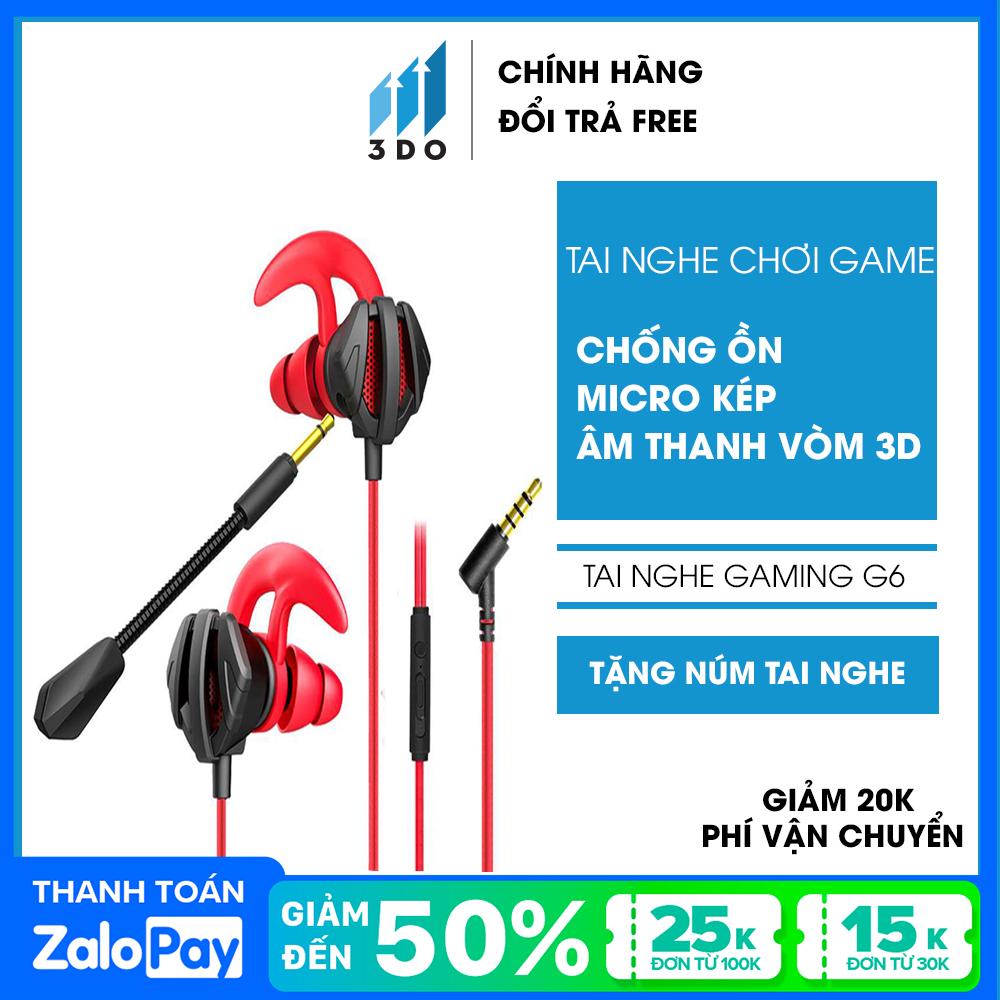 Tai nghe gaming cho điện thoại pc 3DO G6 có mic nhét tai chơi tốt cho game pubg liên quân mobile liên minh huyền thoại csgo cho kết nối ổn định hơn dòng tai nghe gaming bluetooth và tai nghe chụp tai đàm thoại rõ nét ổn định cao