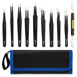 10 Pcs Precision Tweezers Set, Premium Craft Tweezers Kit, Stainless Steel Electronic ESD Tweezers,Anti-Static Tweezers thumbnail