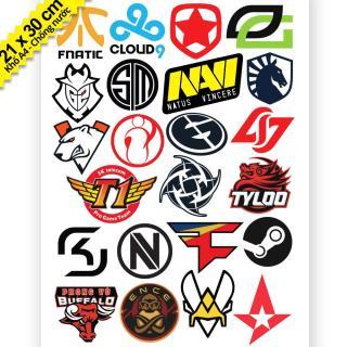 Bộ 23 Logo Team Game Fnatic Cloud 9 Navi - Khổ A4 Chống Thấm Nước thumbnail