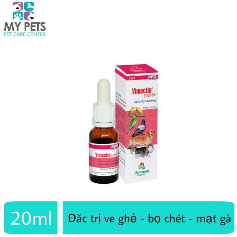 Thuốc nhỏ sống lưng trị ve ghẻ, bọ chét, mạt trên chó mèo, gia cầm - Vemedim Vimectin Pour On lọ 10ml