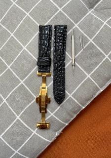 [TK11] Dây đồng hồ da cá sấu màu ĐEN vân HẠT TRÒN, phát hiện giả ĐỀN 10 LẦN TIỀN,TẶNG KÈM cây tháo lắp dây, dây đồng hồ da cá sấu nam, dây đồng hồ da cá sấu nữ thumbnail