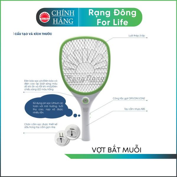 Vợt bắt muỗi Rạng Đông sử dụng pin sạc tích hợp đèn LED chiếu sáng