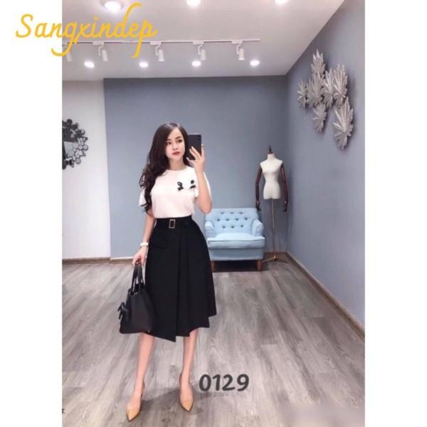 Nơi bán Chân váy chữ A công sở đẹp Hàn quốc 65cm xếp ly đai điệu 2 màu đen/ kem