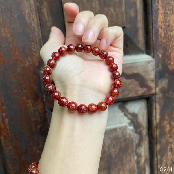 Thạch anh tóc đỏ nguyên chất, trang sức đá quý phong thủy giúp tăng cường sức khỏe,