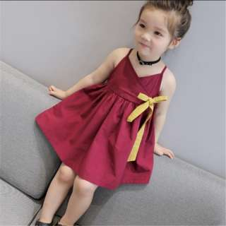 Quần Áo Trẻ Em Váy Bé Gái Mùa Hè Cô Gái Mới Hàn Quốc Màu Rắn Dây Ruy Băng Váy Trẻ Em Quần Áo 2 3 4 5 6 7 8 Năm