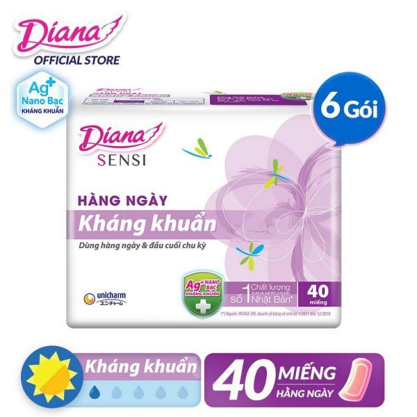 Bộ 4 gói Băng vệ sinh Diana hàng ngày Sensi kháng khuẩn gói 40 miếng