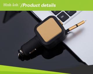 [TẶNG CHÂN TYPE-C] Tẩu sạc dùng trên trên xe hơi, ô tô 2 chân usb và 1 dây sạc cuộn thông minh dài 85 cm tích hợp công nghệ,bảo vệ điện áp đầu vào, quá tải pin, điện sạc nhanh 4.8A có sẵn chân micro-usb và iphone. thumbnail