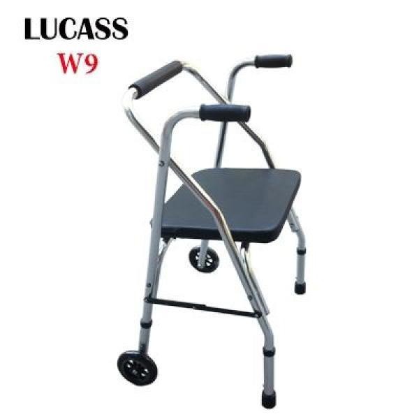 Khung tập đi có ghế ngồi đệm da cao cấp LUCASS W9 cho người già, người tai biến đi lại kém nhập khẩu