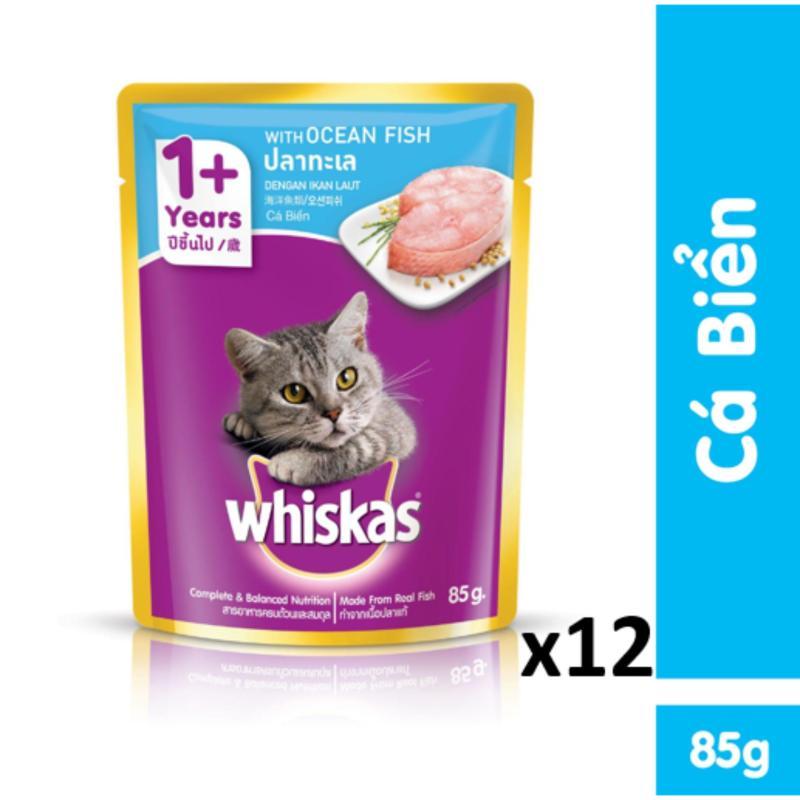 Bộ 12 túi thức ăn cho mèo Whiskas vị cá biển 85g