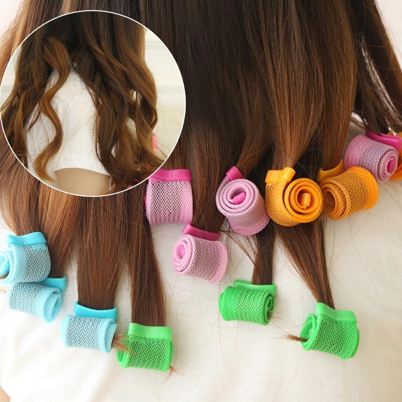 Bộ tạo kiểu tóc xoăn ốc sên 18 ống - Lô uốn tóc không dùng nhiệt - Lô cuốn tóc tạo kiểu tóc xoăn gợn sóng chuẩn - Dụng cụ làm tóc. giá rẻ