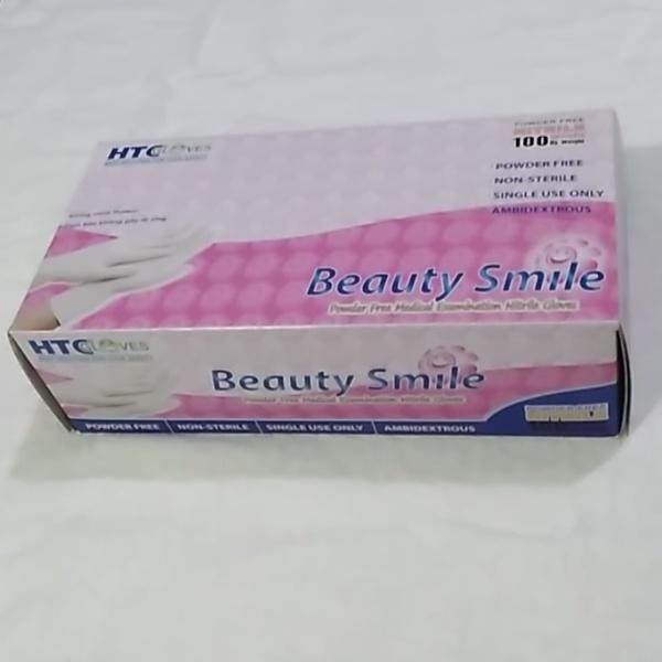 Găng tay nitrile không bột màu trắng HTC Beauty Smile - găng nha khoa 100 chiếc