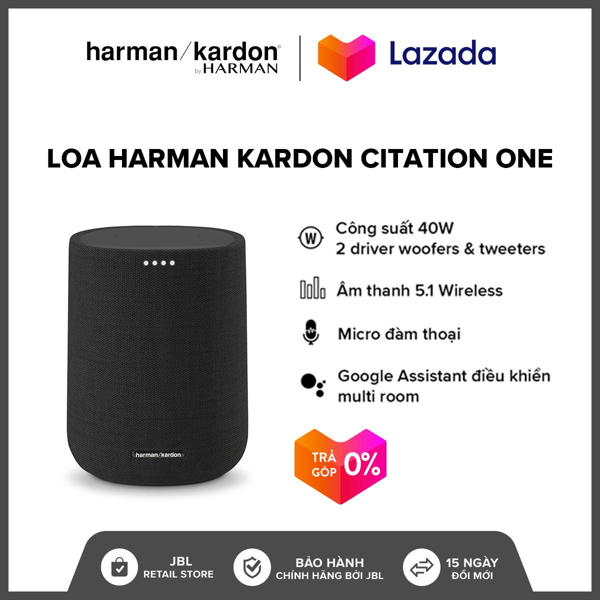 [TRẢ GÓP 0% - HÀNG CHÍNH HÃNG] Loa Harman Kardon Citation One l Công suất 40W l Kết nối 2 loa cho âm thanh nổi l 2 Driver l Hỗ trợ Google Assistant