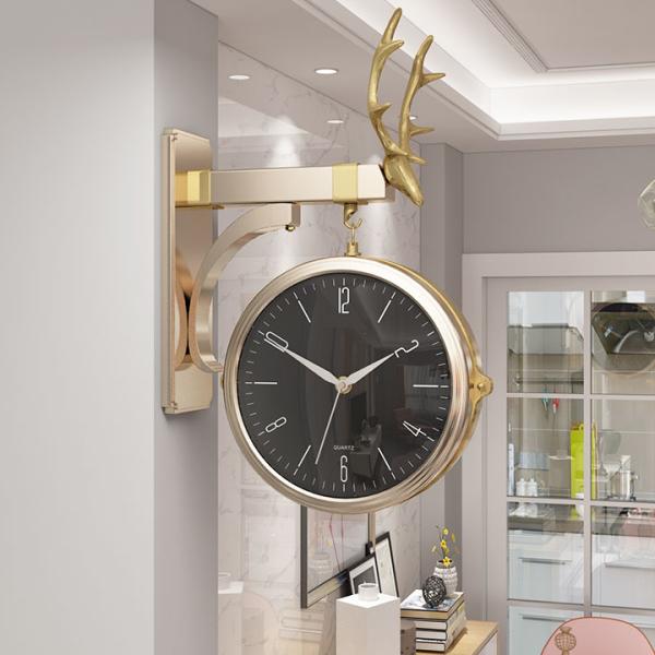 Đồng hồ treo tường biệt thự decor cao cấp - đồng hồ gắn tường hành lang đẹp khung kim loại sơn tĩnh điện mạ vàng bạc chống gỉ, kim chạy chính xác đến từng giây bán chạy