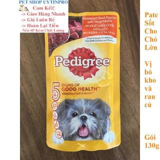 THỨC ĂN PEDIGREE DẠNG PATE SỐT CHO CHÓ LỚN Vị bò kho và rau củ Gói 130g Xuất xứ Thái Lan thumbnail