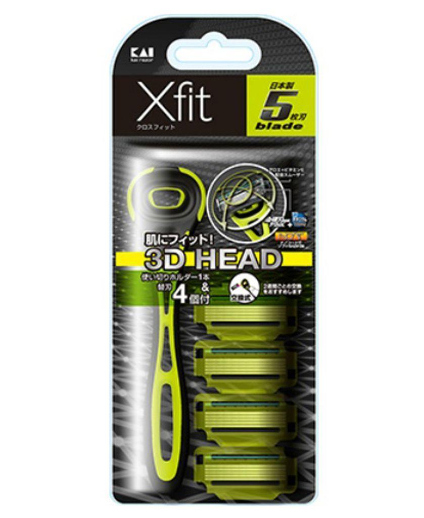 Set dao cạo 5 lưỡi kép Xfit KAI (1 thân, 4 lưỡi thay thế) - hộp dài Hàng Nhật tốt nhất