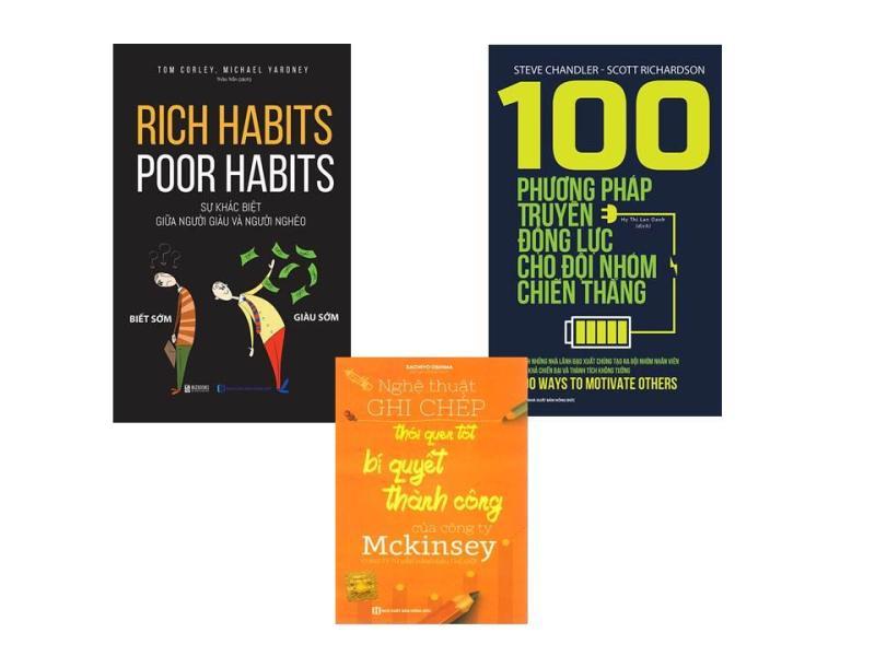 combo làm cho người giàu và người nghèo cùng phát triển với hai cuốn sách 100 phương pháp truyền động lực và cuốn sách rich habits - poor habits (tặng cuốn sách MCKENSEY+ bookmark)