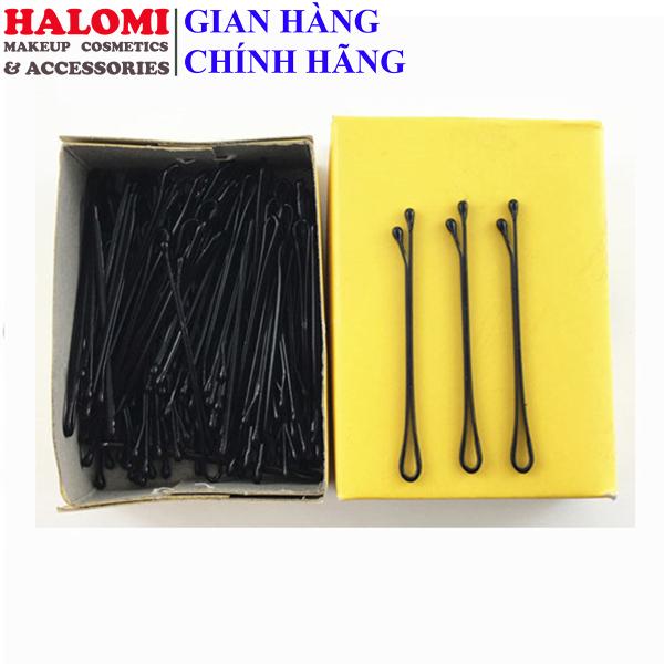 Kẹp ghim tóc cứng chữ Y bằng thép chống gỉ chính hãng HALOMI gim tăm màu đen chuyên dùng cho makeup làm tóc gồm 100 chiếc giá rẻ
