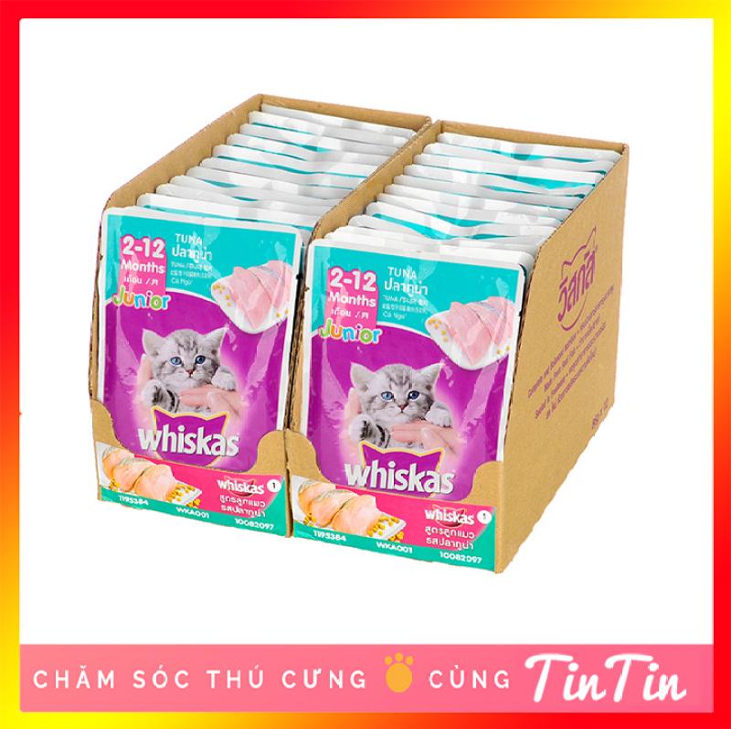 Hộp 24 Gói Pate Whiskas Junior Cho Mèo Con Vị Cá Ngừ Túi 85g