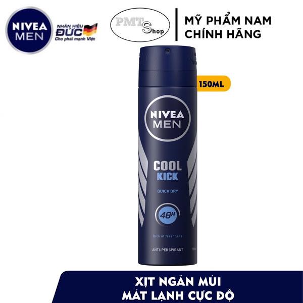 Xịt ngăn mùi nam Nivea men Cool Kick 150ml mát lạnh ngăn mồ hôi