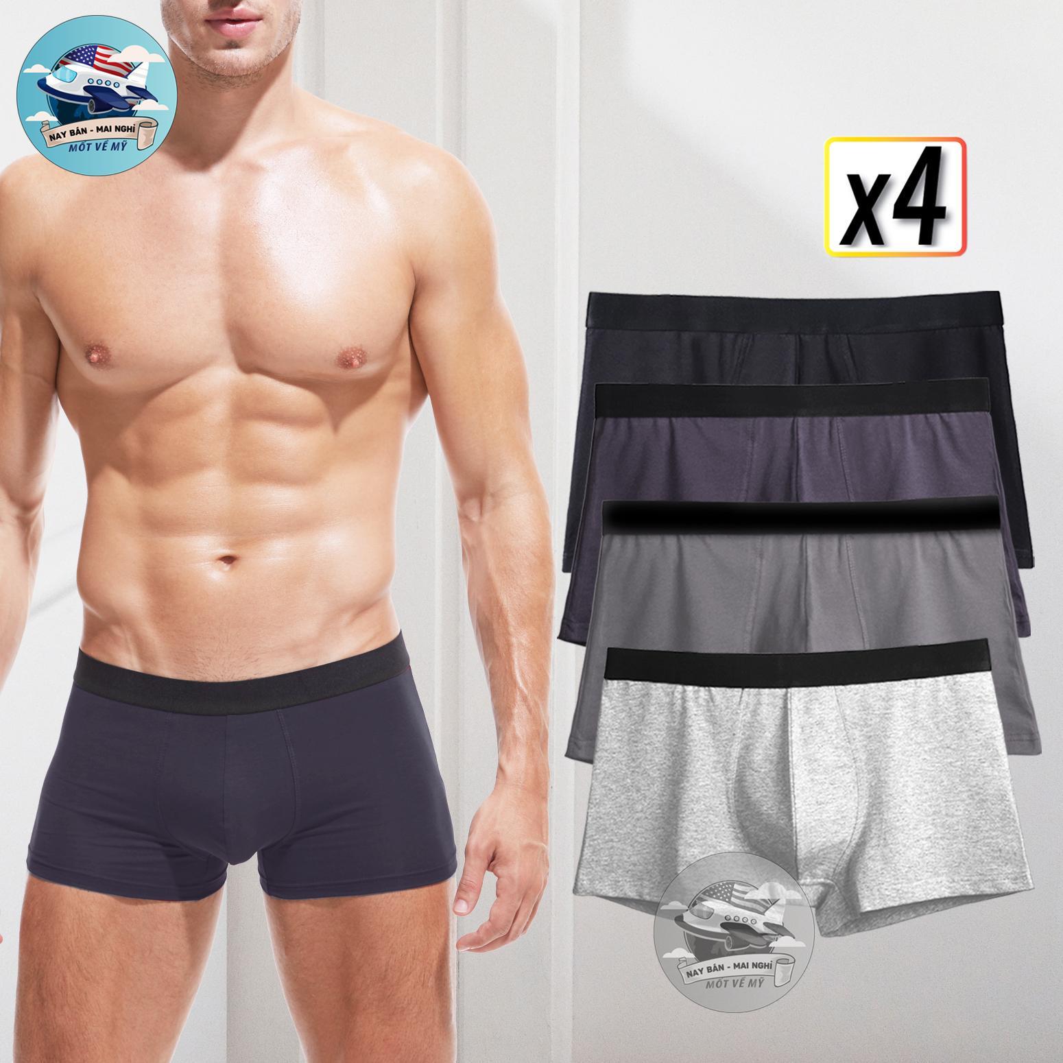 Combo 04 quần lót nam Cotton 4 MÀU cao cấp BOXER SHORT  (đen, xanh, xám đậm, xám nhạt) - Boxer siêu thoáng mát Nhật Bản