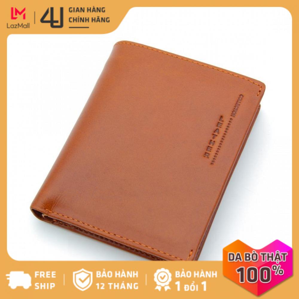 Bóp ví nam da bò thật 4U cao cấp, có nhiều ngăn đựng tiền và thẻ tiện dụng để vừa túi quần, thiết kế dáng đứng thời trang lịch lãm FB185B (Bò)