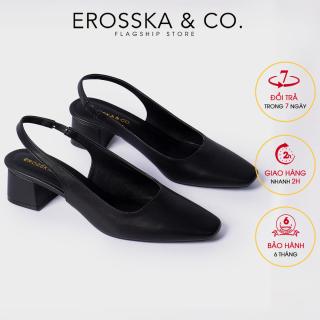 Carl & Ane - Giày cao gót thời trang mũi vuông gót hở phối dây quai mảnh kiểu dáng basic cao 5cm EL016 (BA) thumbnail